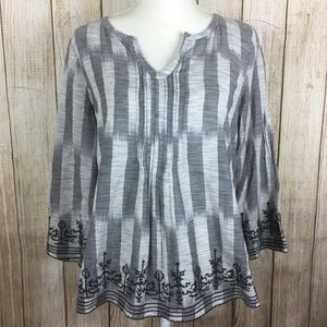 Lucky Brand Boho Style Top With Embroidery Medium